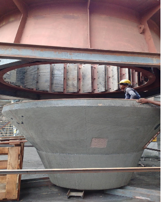 Joining Of With Guide Vanes Assembly  And Our Lotherme Wp 612 Grit Cone After Joining Two Piecess